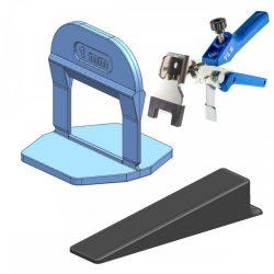 TLS-PRO NEW - 100 db szintező ék + 100 db szintező talp 1 mm fuga + 1 db fém fogó kék