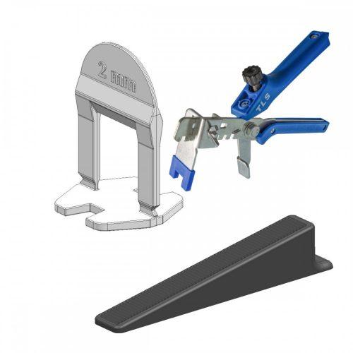 TLS-BASIC NEW - 100 db ék + 250 db talp 2 mm fuga + 1 db fém fogó kék - lapszintező készlet