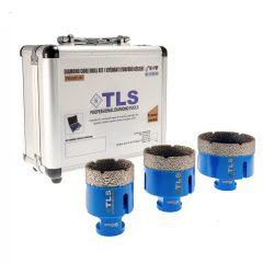 TLS-PRO 3 db-os 35-40-55 mm - ajándék fúrógép adapterrel - lyukfúró készlet - alumínium koffer