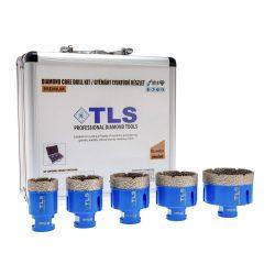 TLS-PRO 5 db-os 35-40-50-55-68 mm - ajándék fúrógép adapterrel  - lyukfúró készlet - alumínium koffer