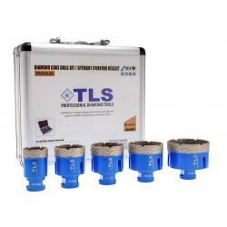 TLS-PRO 5 db-os 35-40-45-50-65 mm - ajándék fúrógép adapterrel  - lyukfúró készlet - alumínium koffer