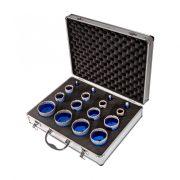 TLS-PRO 16 db-os 6-10-12-14-20-22-27-35-40-45-50-55-60-65-68-70 mm - lyukfúró készlet - alumínium koffer
