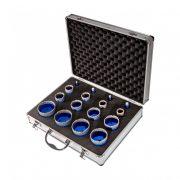 TLS-PRO 16 db-os 5-6-7-8-20-22-27-35-40-45-50-55-60-65-68-70 mm - lyukfúró készlet - alumínium koffer