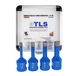 TLS-PRO 4 db-os 6-8-10-12 mm - ajándék fúrógép adapterrel - mini lyukfúró készlet  - alumínium koffer