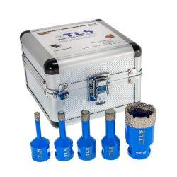 TLS-PRO 5 db-os 6-8-10-12-20 mm - ajándék fúrógép adapterrel - mini lyukfúró készlet - alumínium koffer