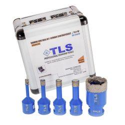 TLS-PRO 5 db-os 6-8-10-12-27 mm - ajándék fúrógép adapterrel - mini lyukfúró készlet - alumínium koffer