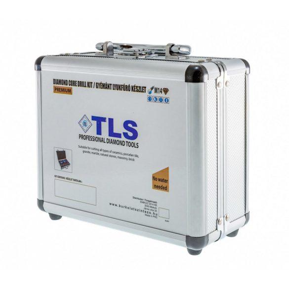TLS  10 db-os 5-6-7-8-10-12-14-16-20-22 mm - lyukfúró készlet - alumínium koffer fekete