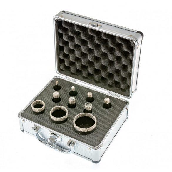 TLS  10 db-os 6-8-10-12-14-16-20-25-30-50 mm - lyukfúró készlet - alumínium koffer fekete