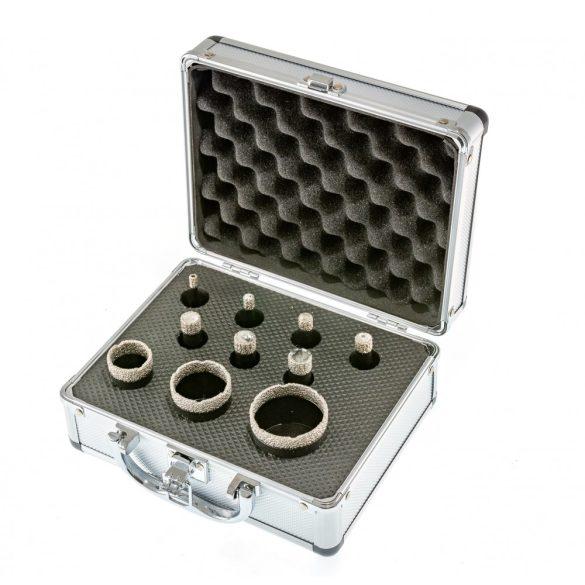 TLS 10 db-os 5-6-8-10-12-14-16-20-25-40 mm - lyukfúró készlet - alumínium koffer fekete