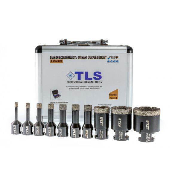 TLS 10 db-os 5-6-8-10-12-14-16-22-27-32 mm - lyukfúró készlet - alumínium koffer fekete