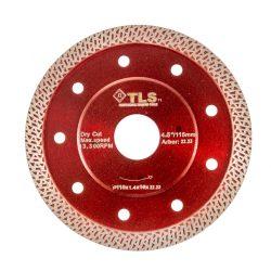 TLS K-PRO TURBO GRES vékony gyémánttárcsa száraz vágáshoz D115x1.2x10x22.23 mm bordó