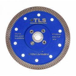 TLS X-PRO TURBO M14 ultravékony gyémánttárcsa száraz vágáshoz D125x1.2x10xM14 mm kék