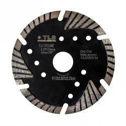 TLS CYCLONE TURBO gyémánttárcsa száraz vágáshoz D115x2.4x8x22.23 mm fekete gránithoz