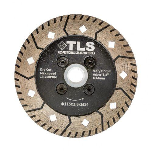 TLS PREDATOR gyémánt vágó- és csiszolótárcsa d115x2,6x8xM14 mm hűtőfurattal