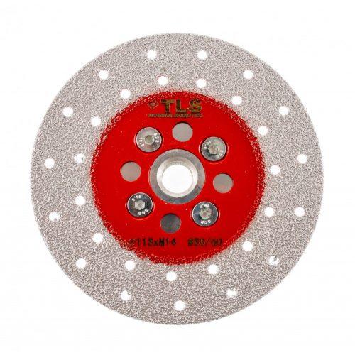 TLS VACUUM gyémánt vágó- és csiszolótárcsa 2 oldalas M14x115 mm - finom szemcseméret piros