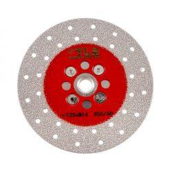 TLS VACUUM BRAZED DISC gyémánttárcsa száraz gérvágáshoz és csiszoláshoz 2 oldalas M14x125 mm piros  #50/60 finom