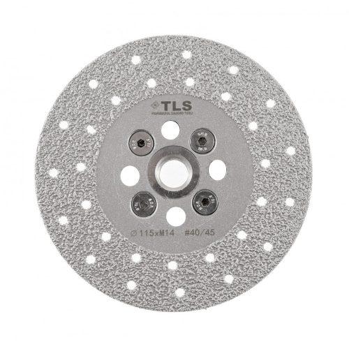 TLS VACUUM gyémánt vágó- és csiszolótárcsa 2 oldalas M14x115 mm - közepes szemcseméret szürke