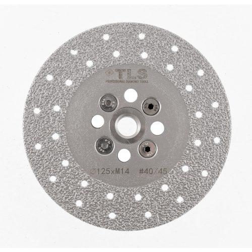 TLS VACUUM gyémánt vágó- és csiszolótárcsa 2 oldalas M14x125 mm - közepes szemcseméret szürke