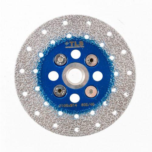 TLS VACUUM gyémánt vágó- és csiszolótárcsa 2 oldalas M14x100 mm - durva szemcseméret kék