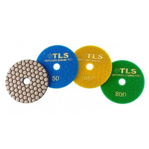 TLS ANGRY BEE D100 mm 3 darabos szett száraz gyémánt polírozótárcsa P50-100-800