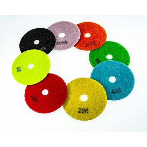 TLS ANGRY BEE D100 mm 5 darabos szett száraz gyémánt polírozótárcsa P50-100-200-400-1500