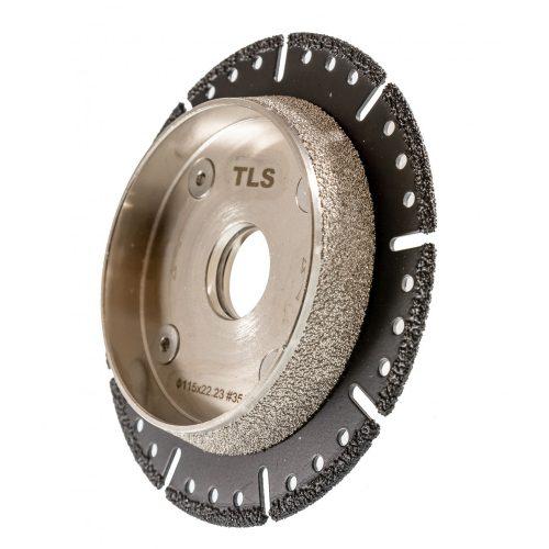 TLS VACUUM TRAIL gyémánt vágó- és csiszolótárcsa d115 x 22.23 x 6.2 mm - durva szemcseméret fekete