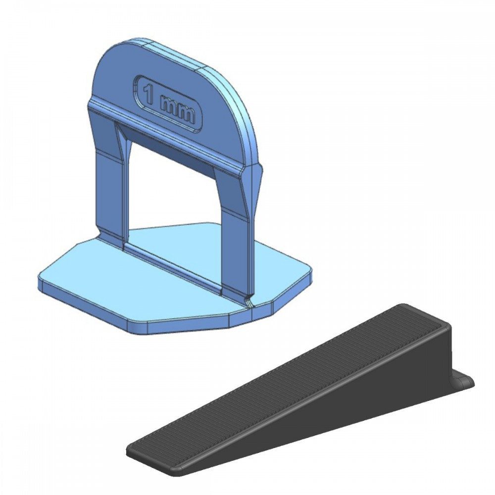 TLS-PRO NEW - 100 db ék + 500 db talp 1 mm fuga - lapszintező készlet