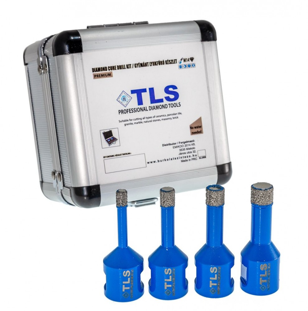 TLS-PRO 4 db-os 6-12-14-16 mm - mini lyukfúró készlet - alumínium koffer