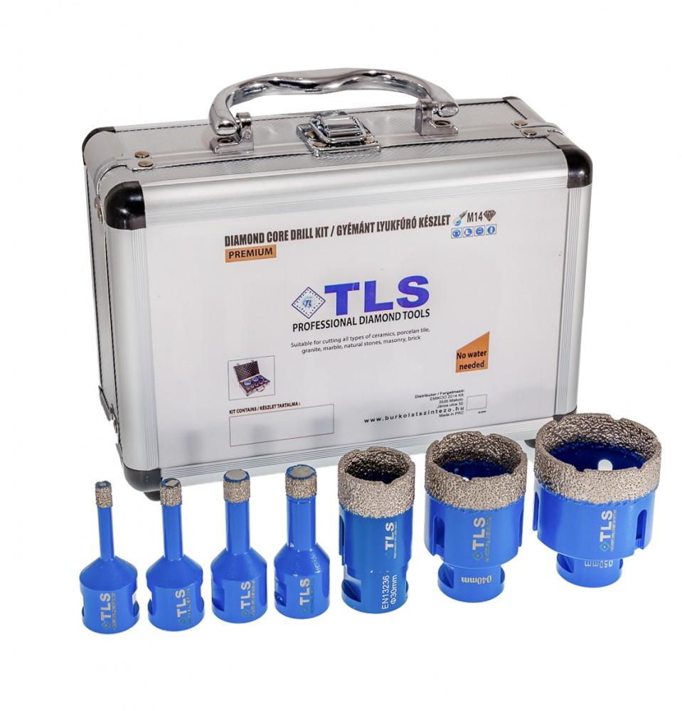 TLS lyukfúró készlet 6-12-14-16-27-40-50 mm - alumínium koffer
