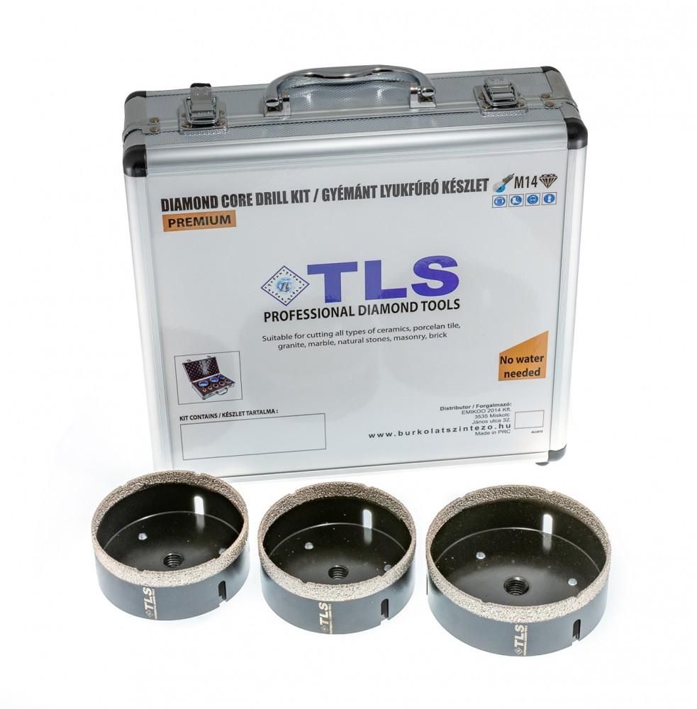 TLS-PRO 3 db-os 55-60-68 mm - lyukfúró készlet - alumínium koffer fekete